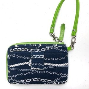 Thirty One Wristlet, Navy & Green Chains Ahoy